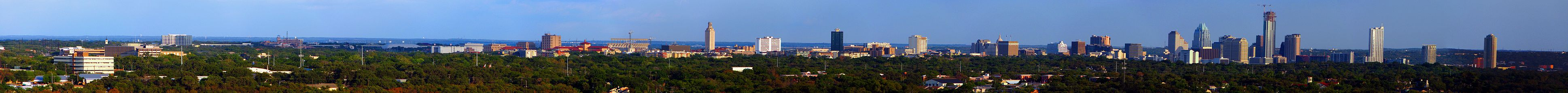 A picture of the Austin skyline in the afternoon.
