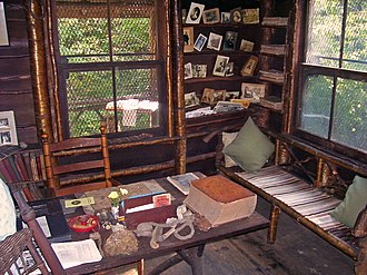 Slabsides - Table and furnishings inside the cabin; built by Burroughs from local wood.