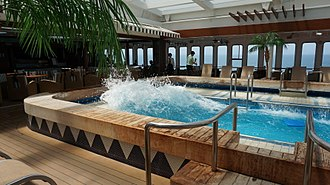 Slosh dynamics - Water sloshing in the swimming pool of a cruise ship undergoing pitching motion