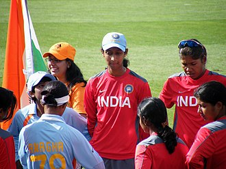 India women's national cricket team - Members of the Indian cricket team before a Women's Cricket World Cup game in Sydney