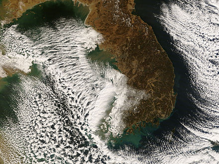 Lake-effect snow bands near the Korean Peninsula in early December 2008 Snow Clouds in Korea.jpg