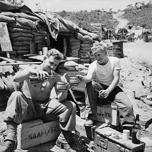 British Commonwealth Forces Korea - Two Australian Army soldiers enjoy some recreation time at a sandbagged Navy, Army and Air Force Institutes (NAAFI), Korea, 1952