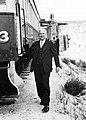 South Australian Railways Commissioner John A Fargher on inspection at Lake MacDonnell gypsum loading plant, 1949 (EPRPS rp 127).jpg