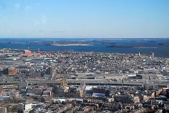 English: View of South Boston and Boston Harbor