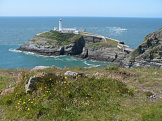 South Stack - South Stack lighthouse on the island.  The footbridge from the mainland is just visible