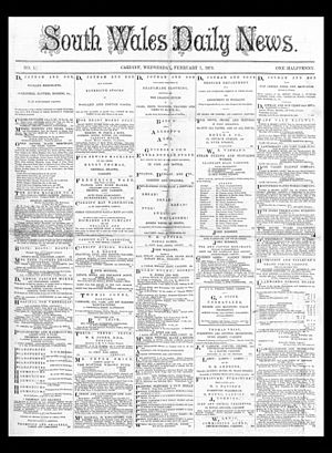 Media Wales - Front page of the earliest surviving copy of the Welsh newspaper South Wales Daily News; 7 February 1872