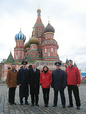 Soyuz TMA-20 - The Soyuz TMA-20 prime and backup crews conduct their ceremonial tour of Red Square on November 26, 2010.