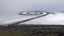 "Robert Smithson's ""Spiral Jetty"" as seen from Rozel Point"