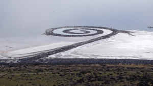 Land art - Spiral Jetty by Robert Smithson from atop Rozel Point, in mid-April 2005