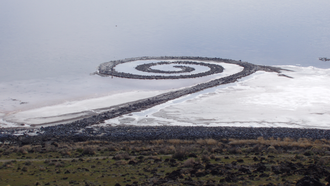 Robert Smithson - Spiral Jetty from atop Rozel Point, in mid-April 2005. It was created in 1970 and still exists although it has often been submerged by the fluctuating lake level. It consists of some 6500 tons of basalt, earth and salt.