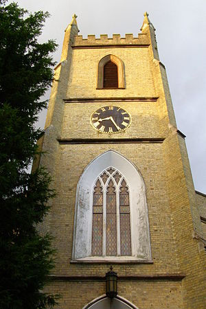 Shirley Parish Church - The west face of St James' tower