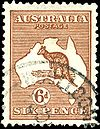 "6d ""kangaroo & map"", used at Woolloongabba  Queensland"