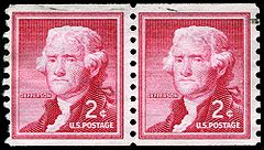 This 2-cent coil stamp of the US 1954 Liberty series was used heavily throughout the 1950s and 60s.