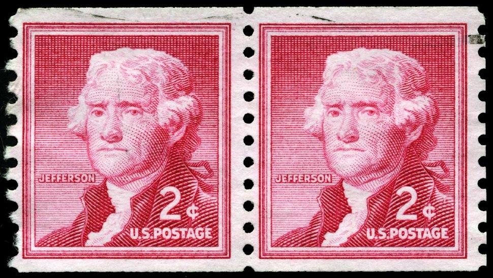 Stamp US 1954 2c Jefferson coil pair