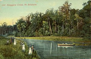 Enoggera Creek - Fishing and boating parties at Enoggera Creek, Brisbane, ca. 1900.  Coloured postcard of fishing and boating parties at Enoggera Creek, Brisbane, ca. 1900. The people fishing and rowing are finely dressed.