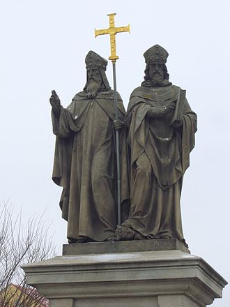 Greeks - Statues of Saints Cyril and Methodius, missionaries of Christianity among the Slavic peoples, Třebíč, Czech Republic.