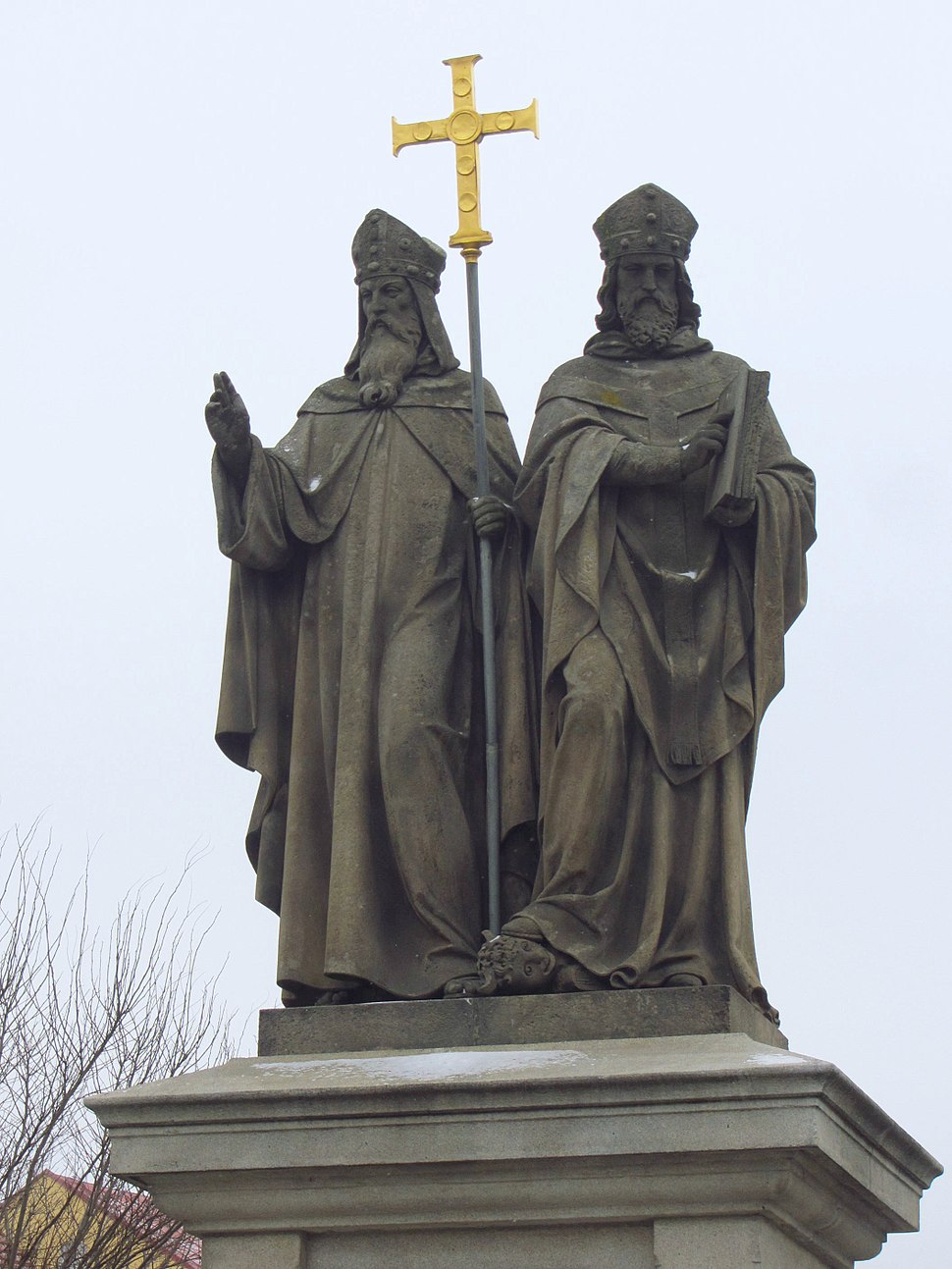 Statue, Saints Cyril and Methodius, Trebic, Czech Republic