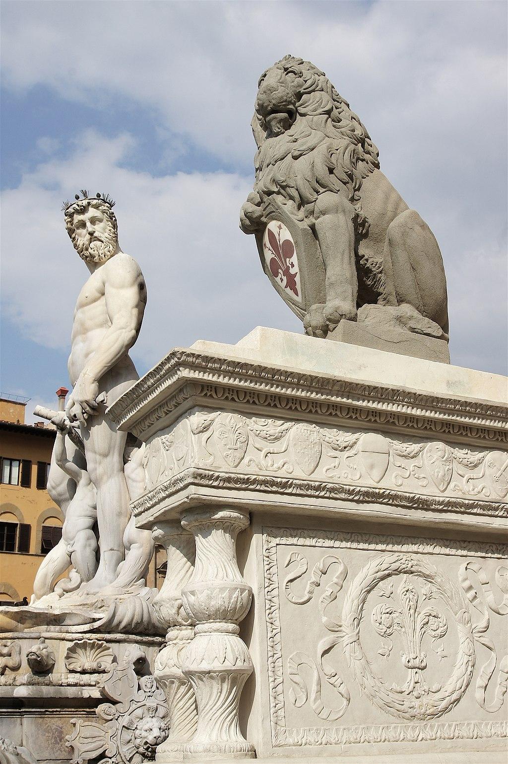 Marzocco en Neptunus, Piazza della Signoria, Firenze