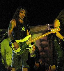 Steve Harris during a concert in Barcelona 30 November 2006.