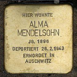 Photo of Alma Mendelsohn brass plaque
