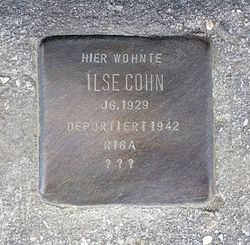 Photo of Ilse Cohn brass plaque