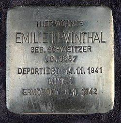 Photo of Emilie Levinthal brass plaque