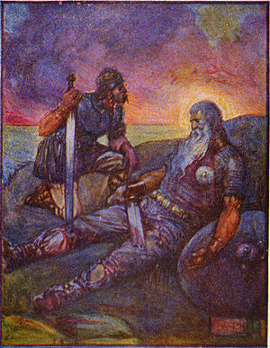 Wiglaf - 1908 depiction of Wiglaf speaking to Beowulf after his battle with the dragon. Beowulf is mortally wounded.