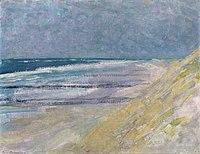 Strand met drie of vier pieren bij Domburg, Piet Mondrian, 1909.jpg