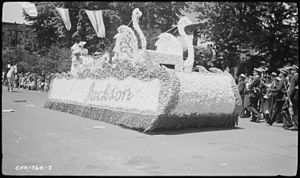 Strawberry festival - A float in a Strawberry Festival in Jackson, Tennessee in 1937.