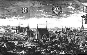 Nyköping - Nyköping, in an engraving from 1690–1710.