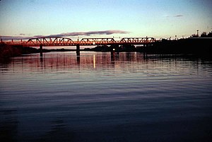 Murray Bridge, South Australia - The Rail Bridge over the River Murray at sunset.