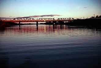 Murray Bridge, South Australia - The Rail Bridge over the Murray River at sunset.