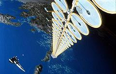 Vue d'artiste d'une centrale solaire orbitale.