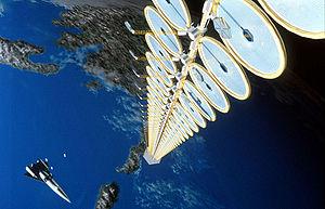 Rappresentazione ipotetica di una centrale solare orbitale