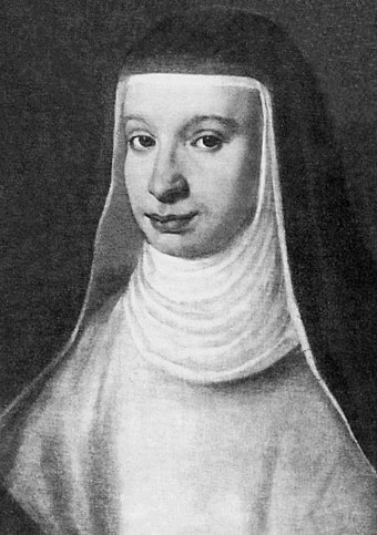 Galileo's beloved elder daughter, Virginia (Sister Maria Celeste), was particularly devoted to her father. She is buried with him in his tomb in the Basilica of Santa Croce, Florence. Suor maria celeste.jpg