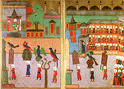 Procession of the guilds in front of the Sultan in the Hippodrome, Ottoman miniature from the Surname-i Vehbi (1582)