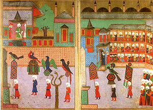 Hippodrome of Constantinople - Procession of the guilds in front of the Sultan in the Hippodrome, Ottoman miniature from the Surname-i Vehbi (1582).