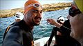 Swimmers Jorge Balbas and Amy Aukstikalnis get ready to swim to Africa..jpg