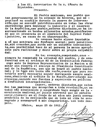 Treaty of Ciudad Juárez - Porfirio Díaz's letter of resignation