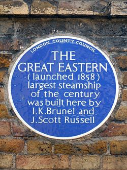 Photo of Isambard Kingdom Brunel and John Scott Russell blue plaque