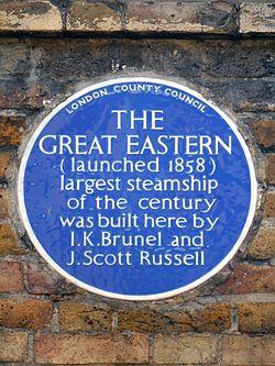 Photo of Isambard Kingdom Brunel and John Scott Russell blue plaque