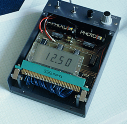 Early prototype of an alpha-numeric LCD based on the twisted nematic field-effect as realized in the laboratories of the Central Research Laboratories of F. Hoffmann-La Roche Ltd. by Martin Schadt and Wolfgang Helfrich. Photo by courtesy of M. Schadt.