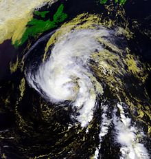 Satellite imagery showing a tropical storm near peak intensity southeast of Newfoundland