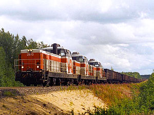VR Class Dr16 - Three Dr16s heading a freight train at Hangas, near Pikkarala, northern Finland, 2001