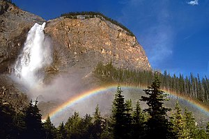 Rainbow - Rainbows can form in mist, such as that of a waterfall.