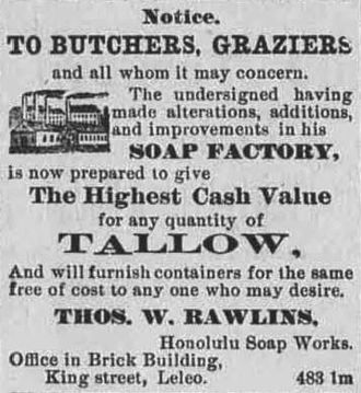 Tallow - An 1883 ad soliciting tallow from butchers and graziers for soap production in the Hawaii newspaper The Daily Bulletin