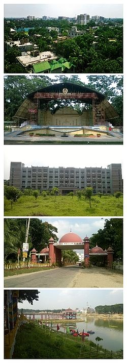 "From top to bottom: 1. The City Skyline from ""Suparibagan""; 2. The Open Stage of Tangail Poura Uddan; 3. Tangail District Court Building; 4. The city gate called ""Shamsul Huq Toron""; 5. DC Lake at District Headquarters"