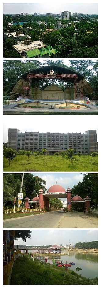 """Tangail - From top to bottom: 1. The City Skyline from """"Suparibagan""""; 2. The Open Stage of Tangail Poura Uddan; 3. Tangail District Court Building; 4. The city gate called """"Shamsul Huq Toron""""; 5. DC Lake at District Headquarters"""
