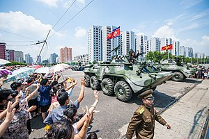 Songun - Armored personnel carriers of the Korean People's Army on parade