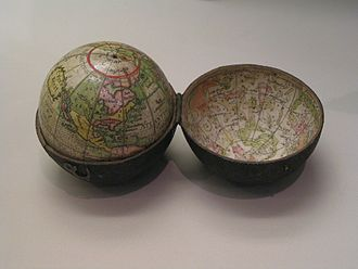 Herman Moll - A pocket globe of the type issued by Moll, many of which showed the route of William Dampier's voyages.